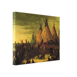Vintage Indians, Sioux War Council by Catlin Canvas Print