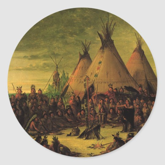 Vintage Indians, Sioux War Council by Catlin Classic Round Sticker