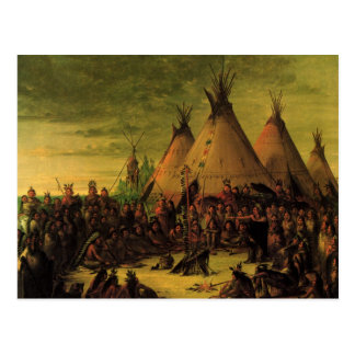 Vintage Indians, Sioux War Council by Catlin Postcard