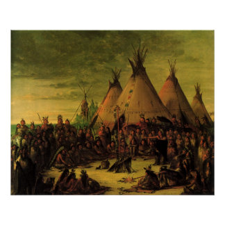 Vintage Indians, Sioux War Council by Catlin Poster