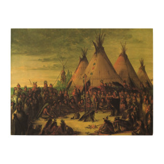 Vintage Indians, Sioux War Council by Catlin Wood Wall Decor