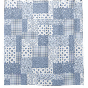 Vintage Indigo Blue And White Faux Patchwork Shower Curtain