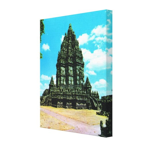 Vintage Indonesia, Java, templo hindú de Prambanan Impresion En Lona