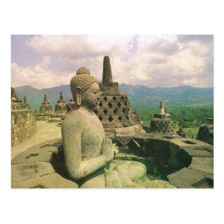 Vintage Indonesia, templo de Borobodur Postales