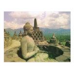 Vintage Indonesia, templo de Borobodur Tarjeta Postal