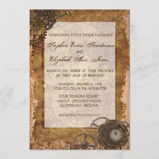 Vintage Industrial Steampunk Wedding Invitation