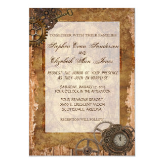 Vintage Industrial Steampunk Wedding Invitation