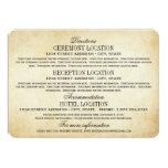 "Vintage Information Cards | Rustic Elegance 4.5"" X 6.25"" Invitation Card"