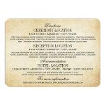 Vintage Information Cards   Rustic Elegance Custom Invitations