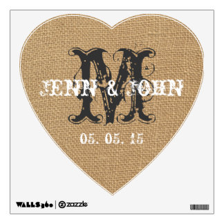 Vintage Initial Burlap Wedding Heart Wall Decal