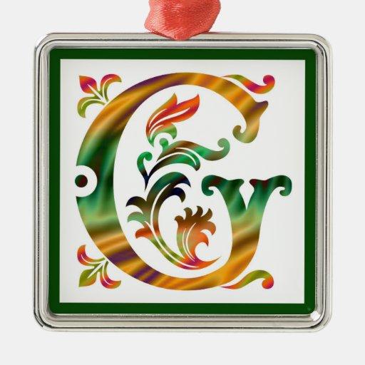 Vintage initial g monogram metal ornament zazzle