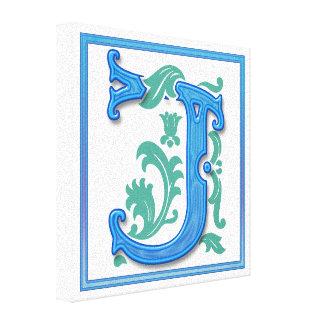 Vintage Initial J - Monogram J Stretched Canvas Print