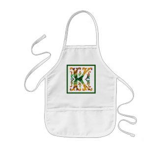 Vintage Initial K- Monogram K Kids' Apron