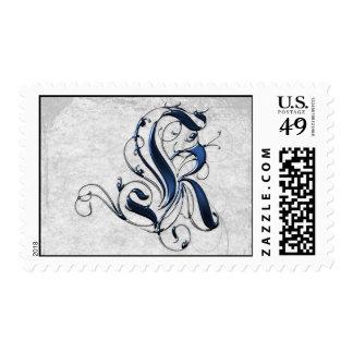 Vintage Initial K Postage Stamp