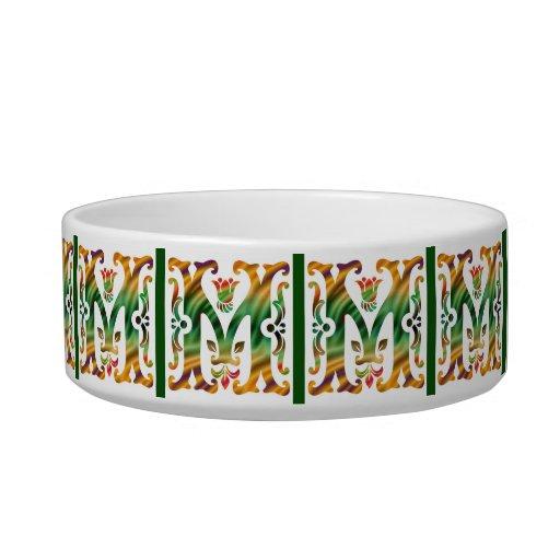Vintage Initial M- Monogram M Cat Bowls