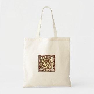 Vintage Initial M Tote Bag