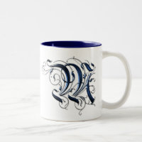 Vintage Initial M Two-Tone Coffee Mug