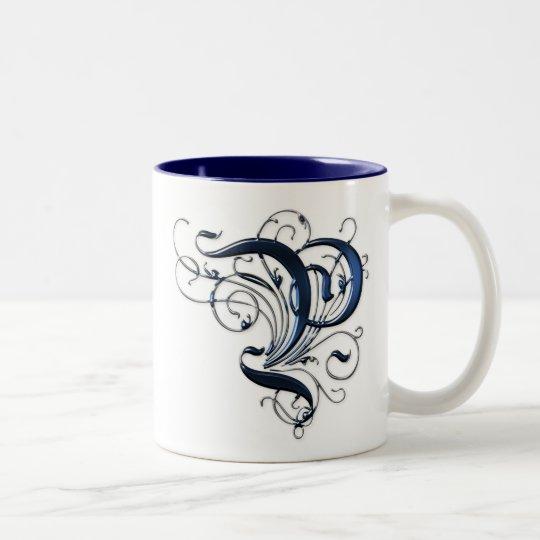 Vintage Initial P Two-Tone Coffee Mug