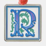 Vintage Initial R Christmas Ornament
