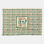 Vintage Initial R - Monogram R Towels