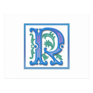 Vintage Initial R Postcard