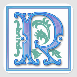 Vintage Initial R Square Stickers