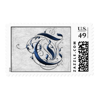 Vintage Initial T Postage Stamp
