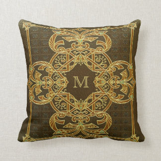 Vintage Initial Tooled Leather Effect Throw Pillow