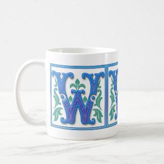 Vintage Initial W- Letter W - Monogram Coffee Mug