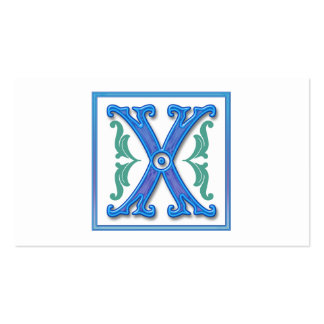 Vintage Initial X - Letter X Double-Sided Standard Business Cards (Pack Of 100)