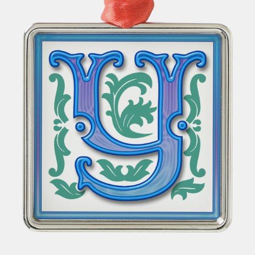 Vintage initial y letter monogram square metal