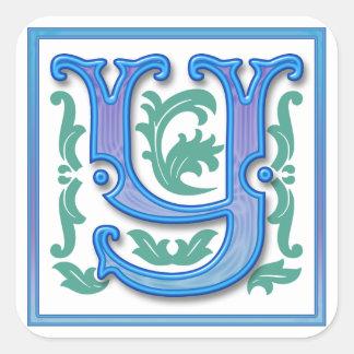 Vintage Initial Y - Letter Y - Monogram Square Sticker