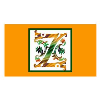 Vintage Initial Z - Monogram Z Business Card