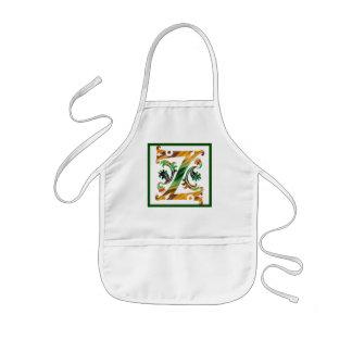 Vintage Initial Z - Monogram Z Kids' Apron