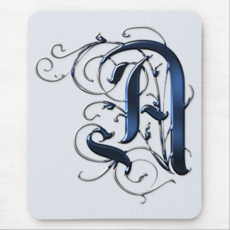 Vintage Initials A Mouse Pad