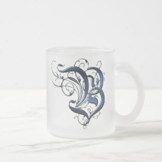 Vintage Initials B Frosted Glass Coffee Mug