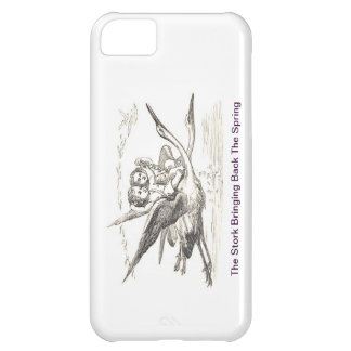 Vintage Ink Drawing: Kids Ride Storks In Flight iPhone 5C Case