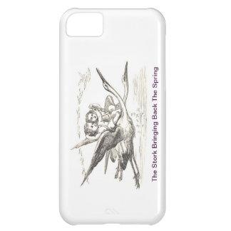 Vintage Ink Drawing: Kids Ride Storks In Flight iPhone 5C Case