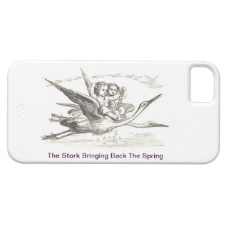 Vintage Ink Drawing: Kids Ride Storks In Flight iPhone SE/5/5s Case