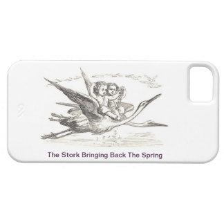 Vintage Ink Drawing: Kids Ride Storks In Flight iPhone SE/5/5s Case