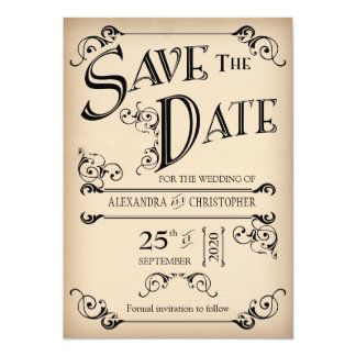 Vintage Ink Swirls Typography Photo Save The Date Card