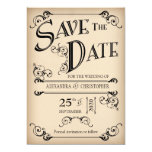 Vintage Ink Swirls Typography Photo Save The Date Cards