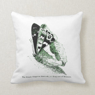 Vintage Insect | Emperor Butterfly | Green Throw Pillow