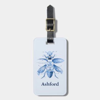 Vintage Insect Image | Beetles | Blue Luggage Tag