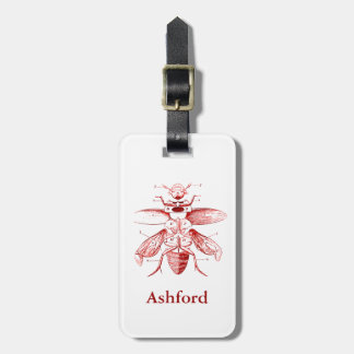 Vintage Insect Image | Beetles | Red Luggage Tag