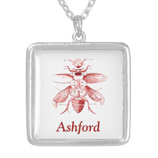 Vintage Insect Image | Beetles | Red Square Pendant Necklace