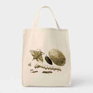 Vintage Insect Image | Silkworm | Moth Grocery Tote Bag