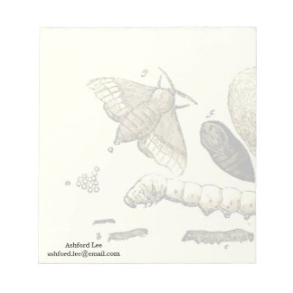 Vintage Insect Image | Silkworm | Moth Notepad