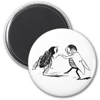 Vintage Insects Dancing; Bluebottle Fly 2 Inch Round Magnet