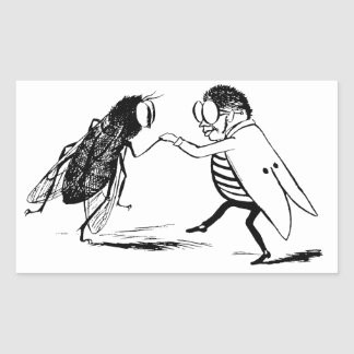 Vintage Insects Dancing; Bluebottle Fly Rectangular Sticker